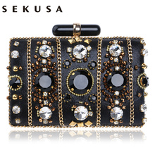 SEKUSA Stickerei Frauen Handtaschen Perlen Kette Zubehör Metall Tag Kupplungen Party Hochzeit Abend Taschen Eine Seite Diamanten Geldbörse
