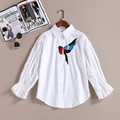 Spring New Arrival Women Fashion Magpie Embroidery Broadcloth Regular Shirts Female Casual Hollow Out Three Quater Sleeve Blouse