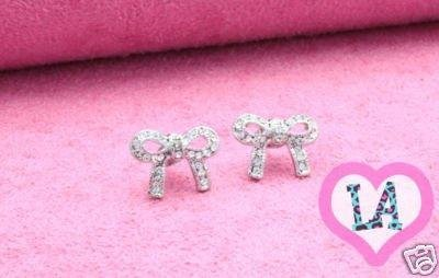 Hot selling SMALL SILVER PAVE CRYSTAL BOW TIE RIBBON STUD EARRINGS for Free shipping