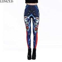 LEIMOLIS 3D printed Rainbow alien blue Gothic harajuku sexy plus size high waist push up fitness workout leggings women pants