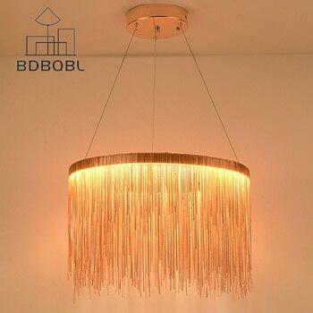 BDBQBL Dia50cm/80 см металлическая подвеска с кисточкой свет современный простой люстра c плафонами хромированный подвесной светильник 35 W/55 W Спаль...