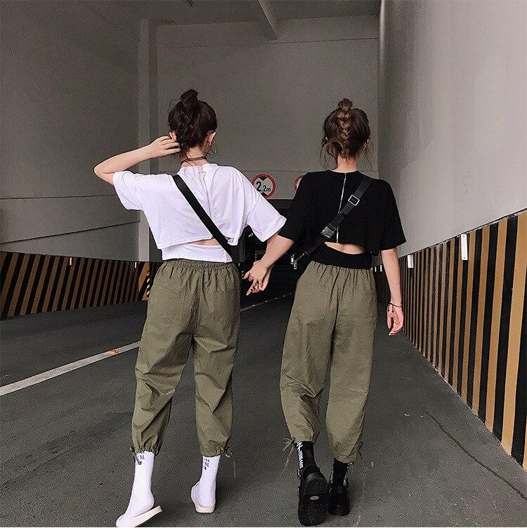Rond Halter Col shirt Ensemble Cravate 2018 Court Femmes T noir Blanc Nouvelles Lâche Pantalon D'été wFRxXqaI