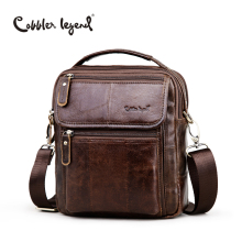 Cobbler legend business handbags genuine male shoulder brand bags leather quality