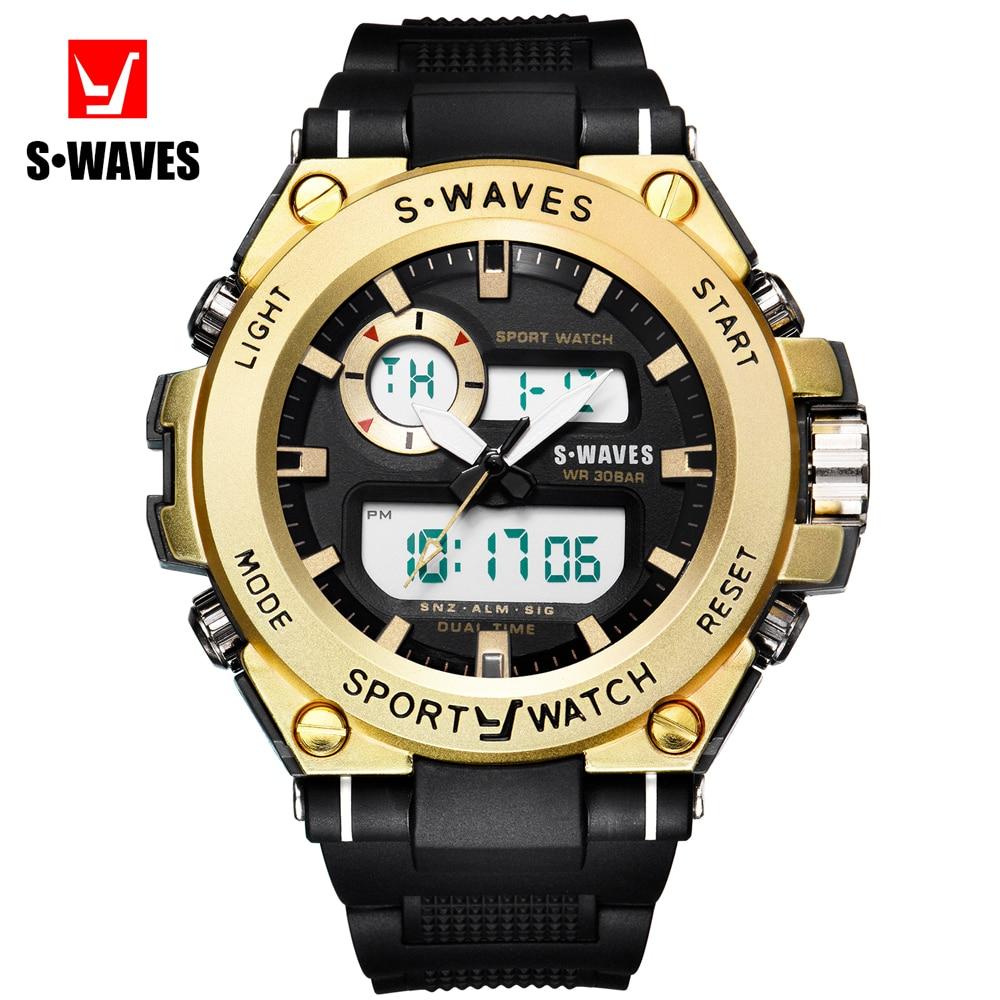 SWAVES Dual Display Watch Quartz Men 39 s Watches Sport Casual Waterproof Army Digital Wristwatch Student Wolf Big Clock SW1060