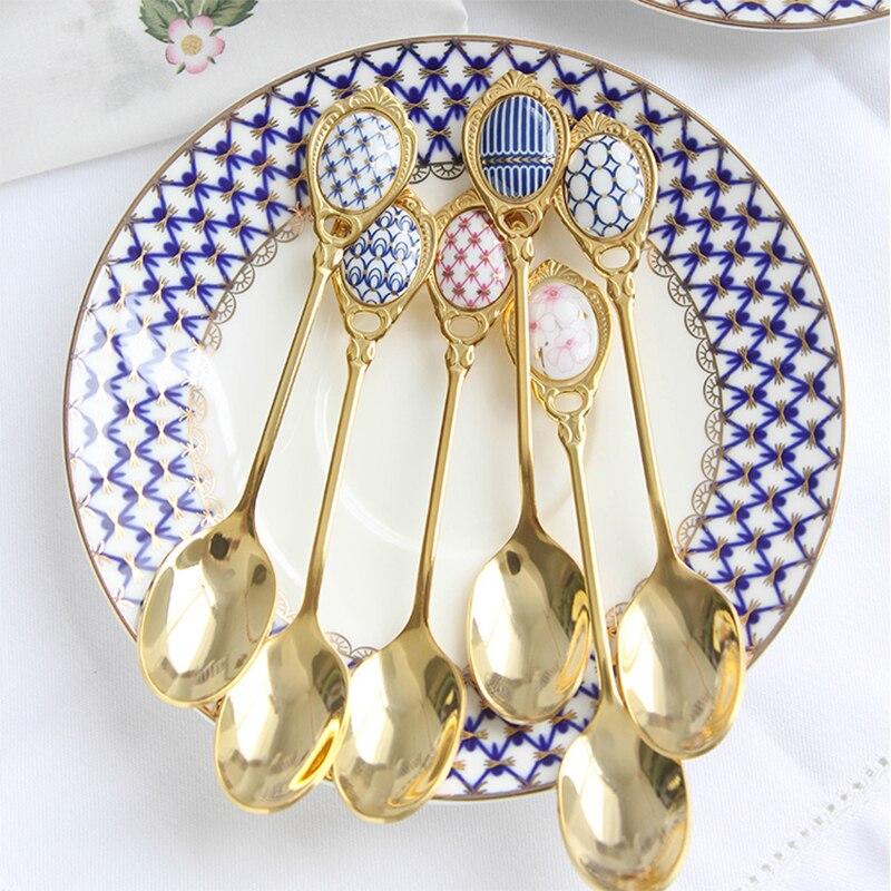 Ensemble de cuillères en acier inoxydable 4 pièces/ensemble poignée en céramique incrustée cuillère à café Vintage plaqué or cuillère à Dessert cuillère à gâteau de haute qualité