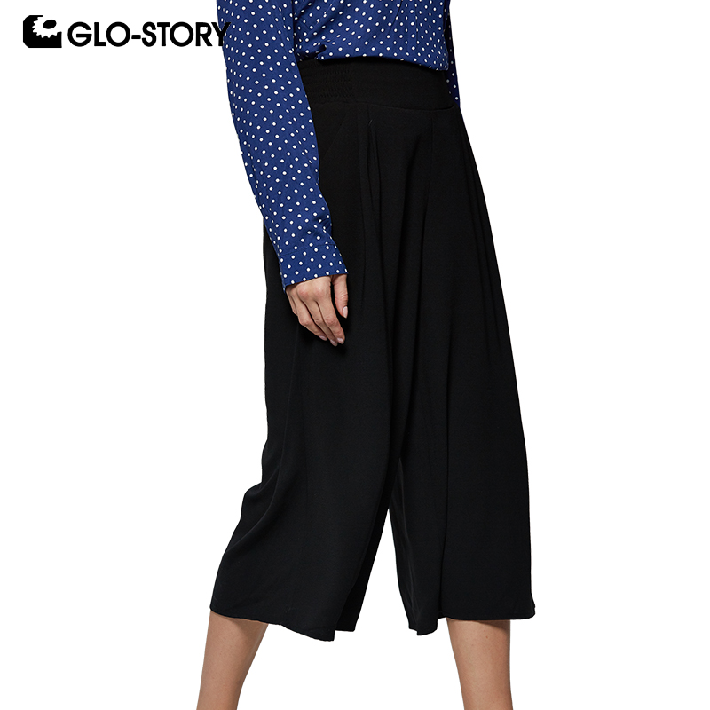 GLO-STORY 2019 New Modis Women Solid Calf-Length Black   Wide     Leg     Pants   Multi-Color Lady's Bottom Cropped trousers WSK-7976