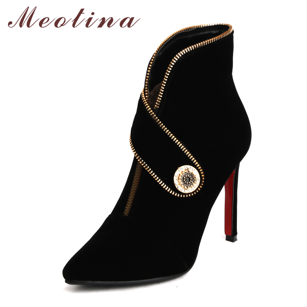 Meotina High Heel Boots Pointed Toe Ankle Boots Winter Shoes Stiletto Short Boots Thin High Heels