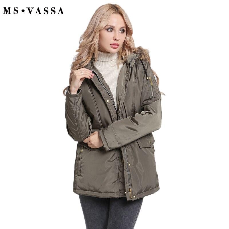 MS VASSA Women Parkas Autumn Winter Ladies jacket army green coat nice fake fur removable hood
