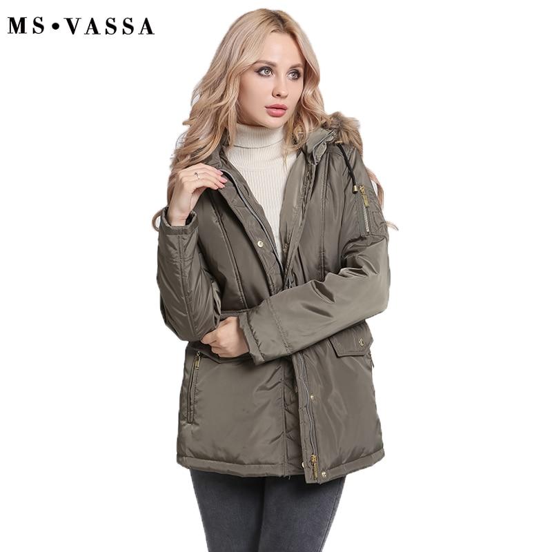 MS VASSA Women   Parkas   Autumn Winter Ladies jacket army green coat nice fake fur removable hood plus size 5XL 7XL outerwear