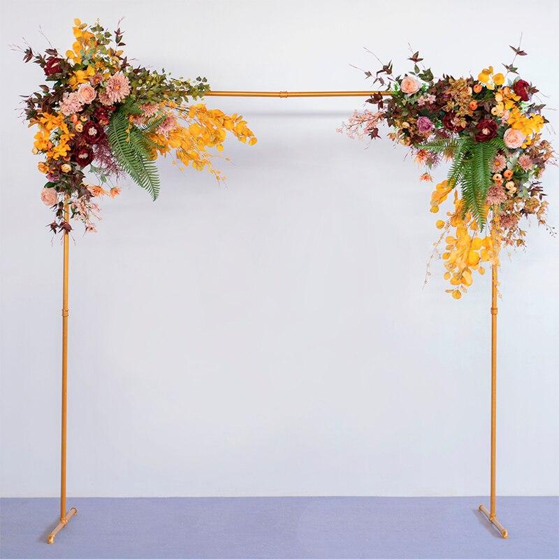 Металл Кованое железо стенд Арка + искусственная композиция из шелковых цветов белая ткань набор Декор вечерние свадебные фон цветочный ряд 1 комплект - 3