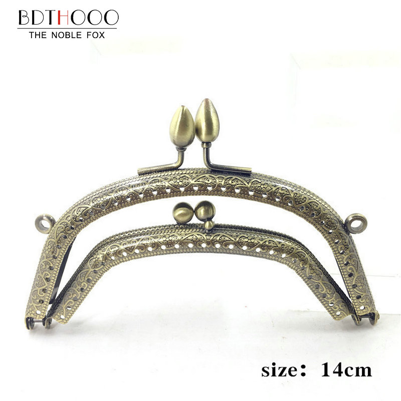 14cm Metal Purse Frame Handle For Clutch Bag Handbag Accessories Making Kiss Clasp Lock Antique Bronze Tone Bags Hardware