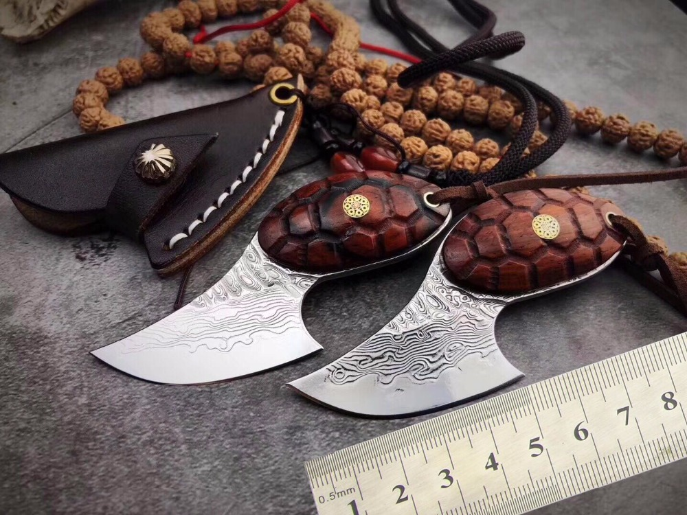 PSRK Pendant Tortoise VG10 <font><b>95</b></font> level Damascus self-defense wild jungle straight <font><b>knife</b></font> collection of outdoor survival Camping tool image