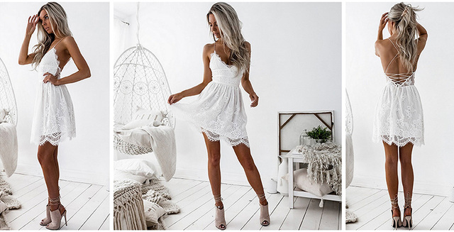 2019 Backless Spaghetti Strap Sexy Lace Dress Women Sleeveless V-Neck Loose Summer Dresses Black Elegant Party Vestidos