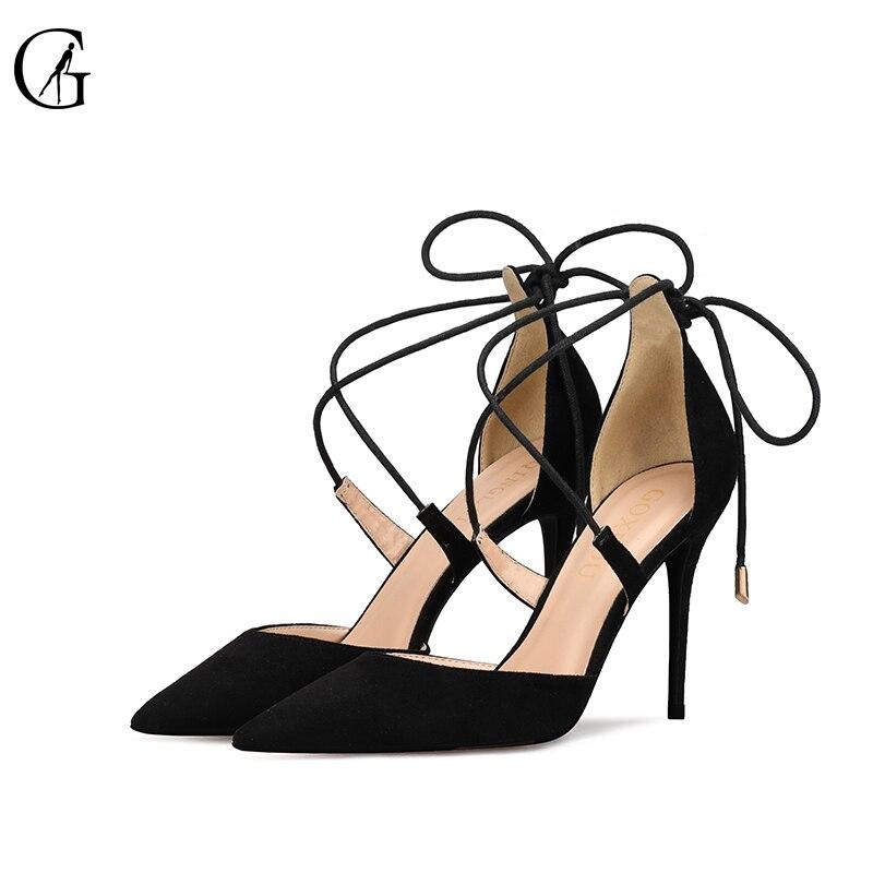 GOXEOU/2018 г. новые женские босоножки, size32-46, тонкий каблук, высокий каблук, пикантные, с перекрестной шнуровкой, острый носок, свадебные, офисные,...