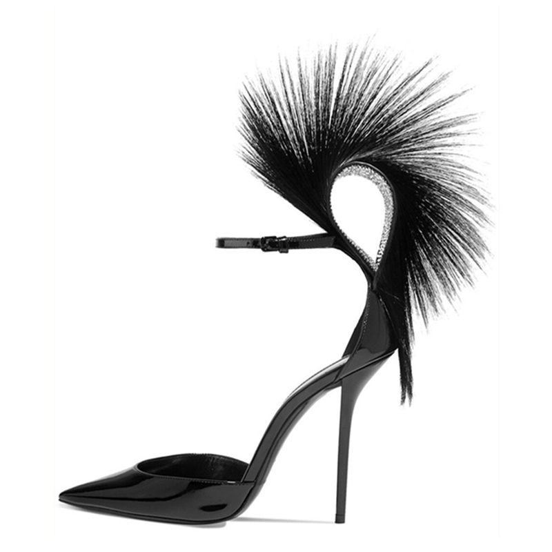 Fashion-design-women-catwalk-shoes-sexy-pointed-toe-feather-stiletto-pumps-ankle-strap-thin-high-heels