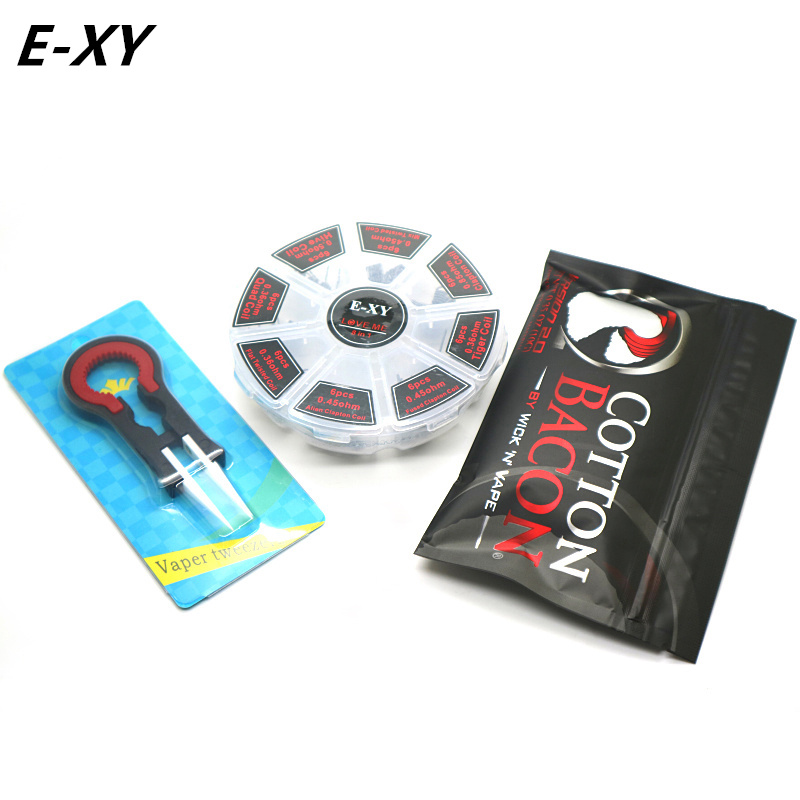 E-XY Vaper Twizer+ Cotton Bacon + 8 in 1 Prebuilt Coil Kit 8 in 1 Twisted Alien Clapton wire DIY Tools Kit For RBA RDA
