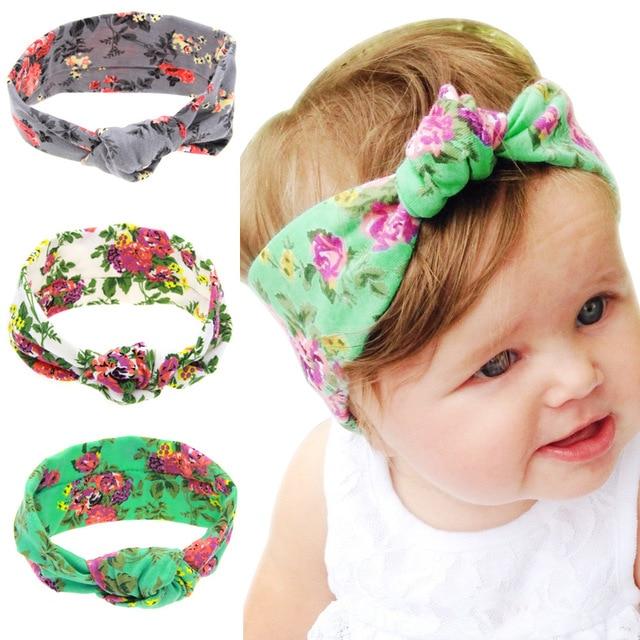1 PC Baby Tie Knot Headband Knitted Cotton Children Girls Hair Band Toddler  Turban Headband printting Design 3 Colors 3059939b740