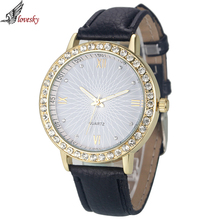 2016 Fashion Luxury Brand Watch Women Leather Quartz Ladies Watches Hour montre femme relogio feminino Crystal Dress Watch