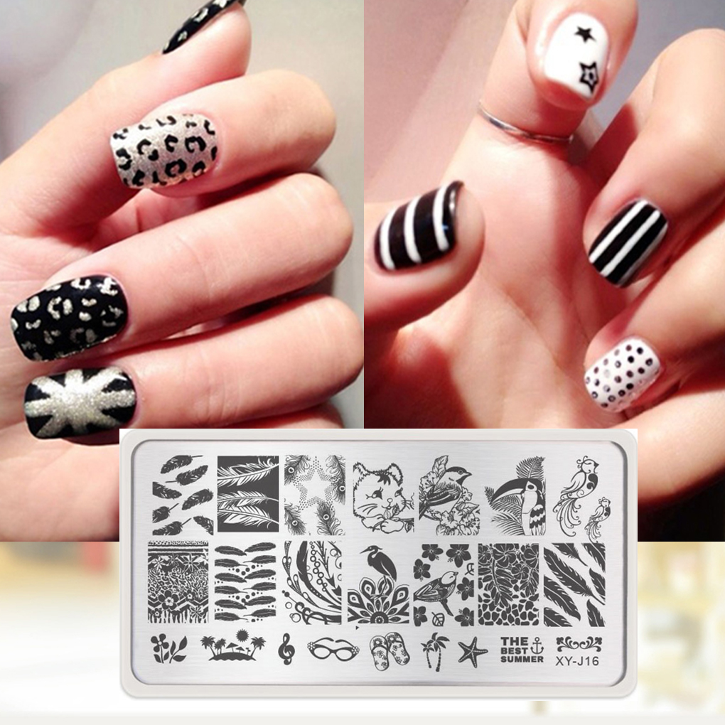 Precise 1pc Nail Stencils Nails Art Stamp Templates Plates For Gel Nail Polish Manicure Image Plate Nail Plate Manicure Tools Image Cheap Sales Nail Art Templates Nail Art