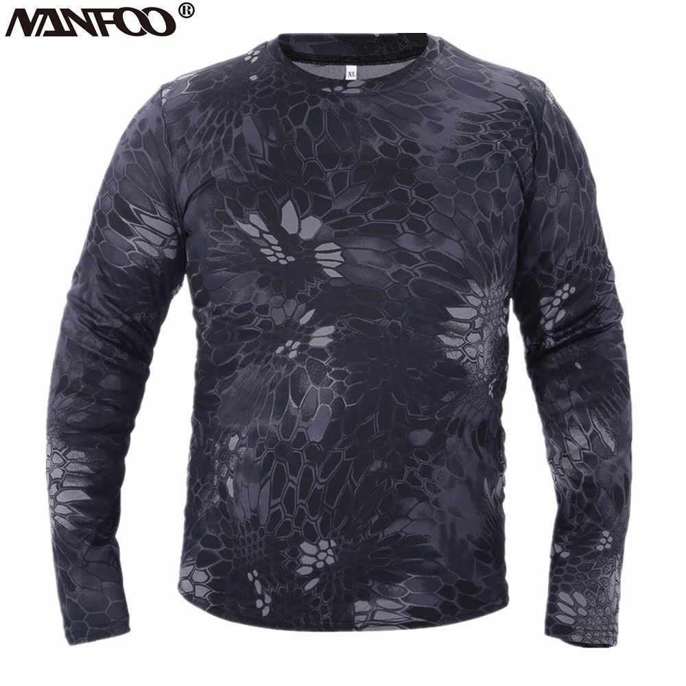 Mężczyźni wiosna T-shirt z długim rękawem na jesień kamuflaż bioniczny taktyczne topy polowanie wspinaczka do biegania, szybkoschnący, oddychający, ubrania