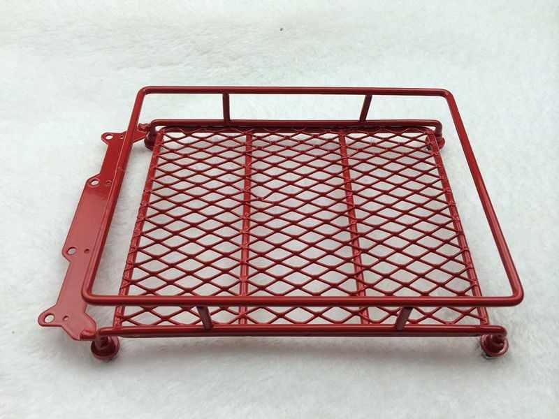 Aluminium Merah Roof Luggage Rack dengan Lampu LED Bar untuk 1/10 1/8 RC Mobil Rock Crawler Rally Tamiya CC01 CR01 d90 Axial SCX10