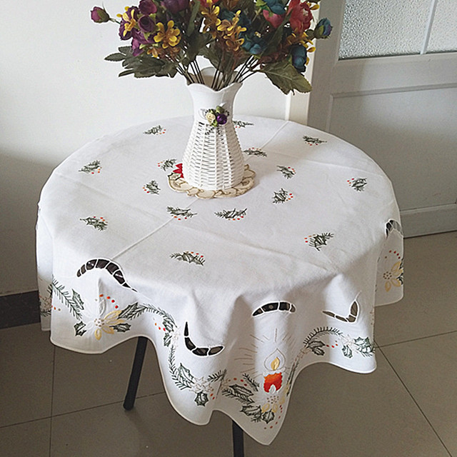 modern white cotton embroidery handmade tablecloth lace square christmas kitchen table cover cloth towel mantel wedding - Square Christmas Tablecloth