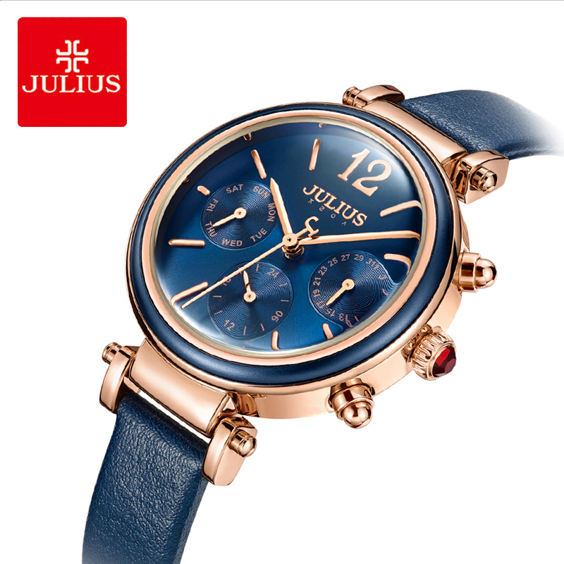 Julius Woman Three Eye Multifunctional Leather Wristwatches Classic Blue Waterproof Quartz Dress Watch Week 24 Hours