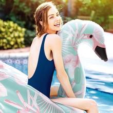 150cm Giant Flower Print Flamingo Pool Float 2018 Nyaste Rid-On Swan Swimming Ring Vatten Vatten Madrass Uppblåsbara Leksaker Piscina