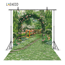 Laeacco Flowers Green Vines Garden Arch Gate Landscape Photography Backgrounds Vinyl Custom Camera Backdrops For Photo Studio