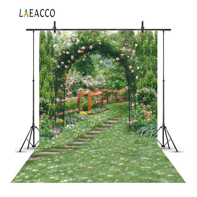 Laeacco Garden Green Flowers Vines Arch Gate Scenic Photography Backgrounds Customized Photographic Backdrops For Photo Studio