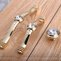 128mm fashion deluxe glass crystal win cabinet dresser door handle 96mm rhinestone kitchen cabinet drawer knob pull gold handles