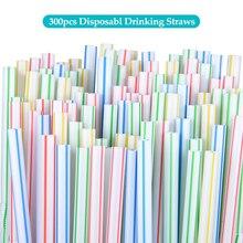 Paquete de 300 pajitas desechables, pajitas de plástico flexibles, pajitas para beber multicolor de arco iris, pajitas de paja flexibles, accesorios para Bar