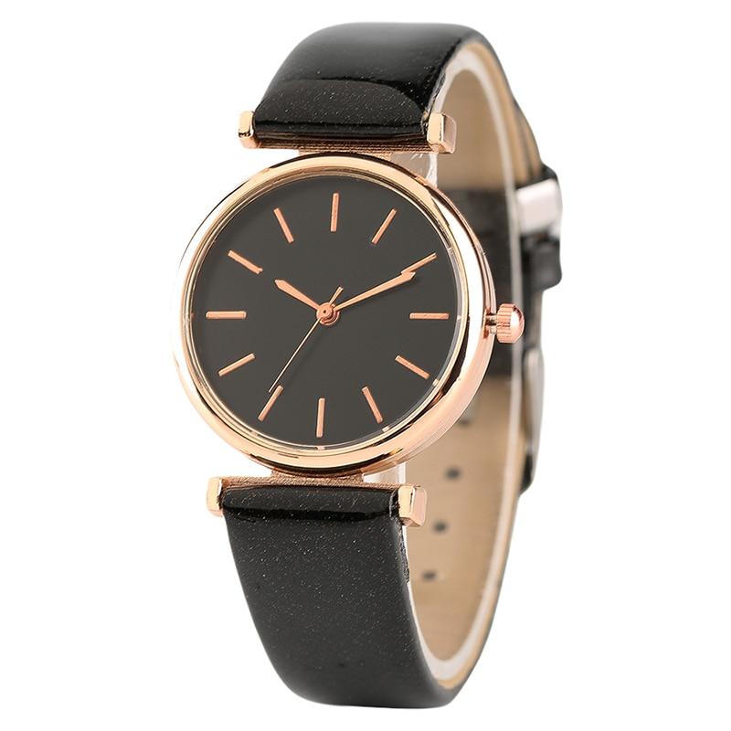 Ladies Watches Horloge Elegant Rose Golden Women Watch Quartz Black White Leather Watchband Wristwatches for Girls element charm watch silicone band wrist watches quartz watch multicolor women girls dames horloge