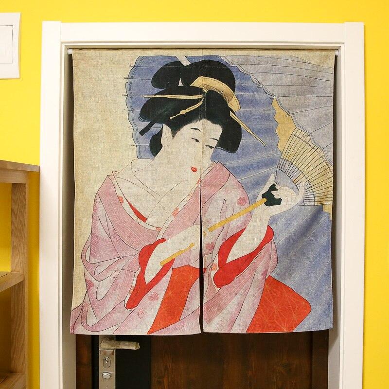 Nice Rideaux Partition De Style Japonais Coton Rideau Tissu Japonais Maid Koi Carpe Porte Rideau Suspendu