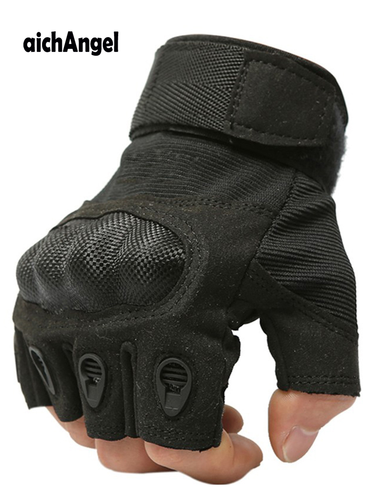 New Tactical Gloves Military Army Paintball Airsoft Outdoor Work Combat Anti-Skid Fingerless Carbon Knuckle Half Finger Gloves