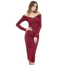 2018 зимнее платье Женщины с плеча Слэш шеи Длинные рукава трикотажные длинное платье серый красный до середины икры обувь для повседневной носки или вечеринки офисные сексуальное платье