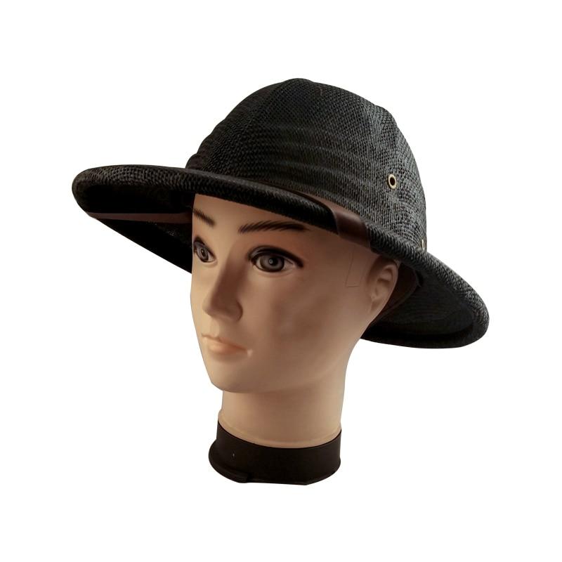 38ca5bfd New 100% Straw Helmet Pith Bucket Hats For Women Men Fedora Vietnam War  Army Sun Hat Dad Boater Hats Safari Jungle Miners Cap-in Bucket Hats from  Apparel ...
