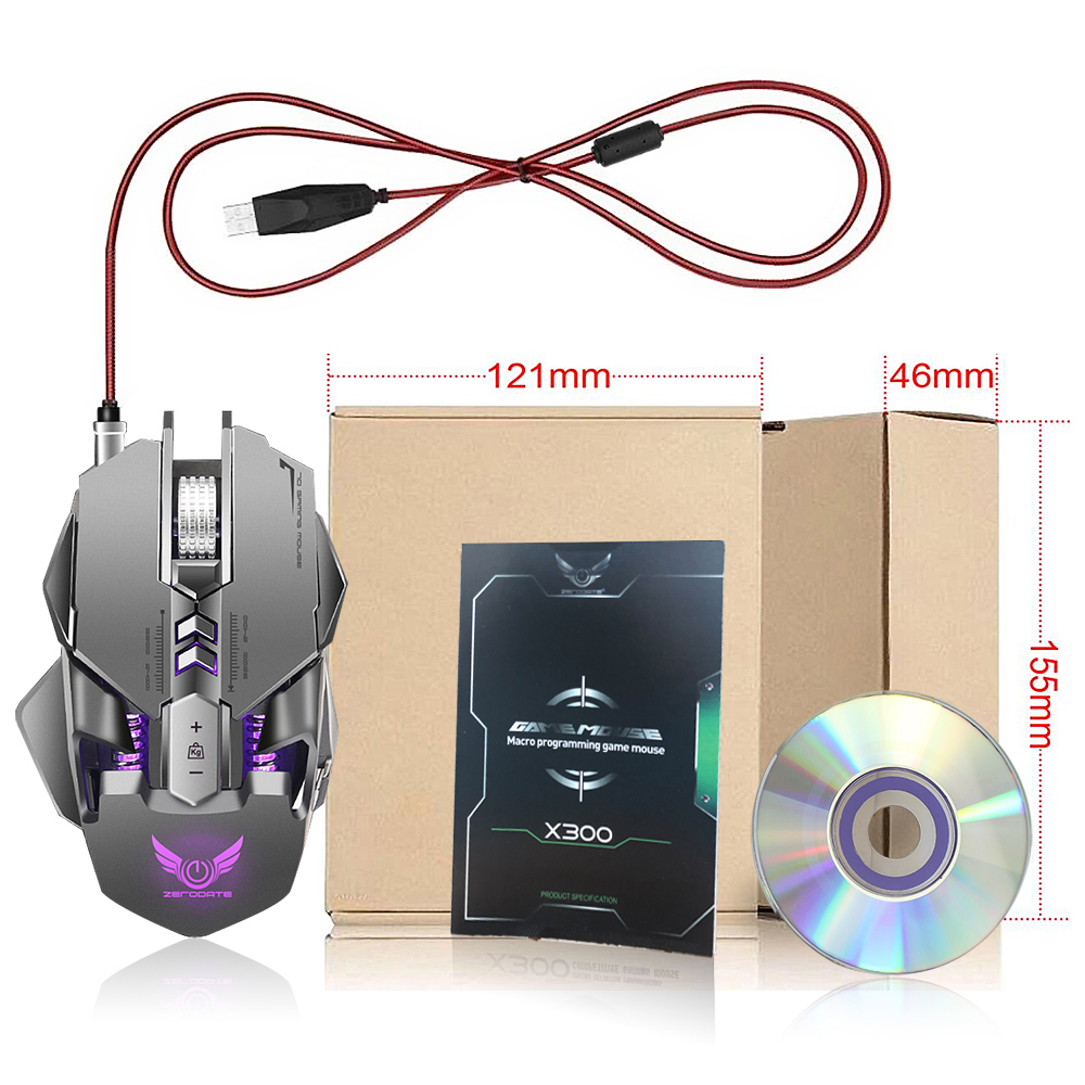 Image 5 - Zerodate X300GY Gaming Mouse 3200DPI 7 Button Programmable Mouse Gamer USB Wired Mechanical Macro Game Mouse For PC Computer-in Mice from Computer & Office