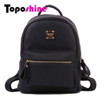 Toposhine Fashion Women Solid Backpack Soft PU Leather Girls School Backpacks High Quality Lady Bag Fashion