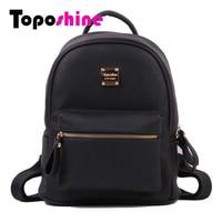 Toposhine Fashion Women Solid Backpack Soft PU Leather Girls School Backpacks High Quality Lady Bag Fashion