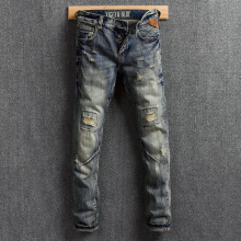 Fashion Streetwear Men Jeans Vintage Designer Destroyed Ripped Jeans Men Retro Washed Slim Fit Denim Pants Hip Hop Jeans Hombre fashion streetwear men jeans retro wash slim fit paint designer ripped jeans men printed pants destroyed hip hop jeans