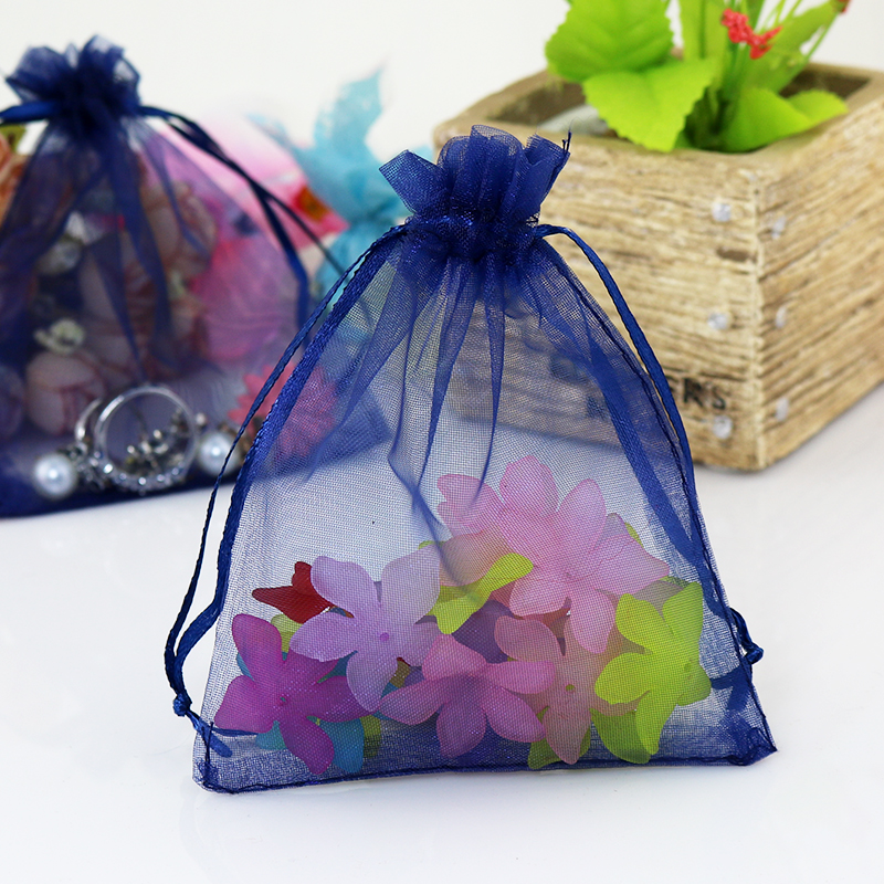 Navy Blue Jewelry Packaging Drawstring Bags Small Pouch Organza 7x9cm 1000pcs Lot In Display From