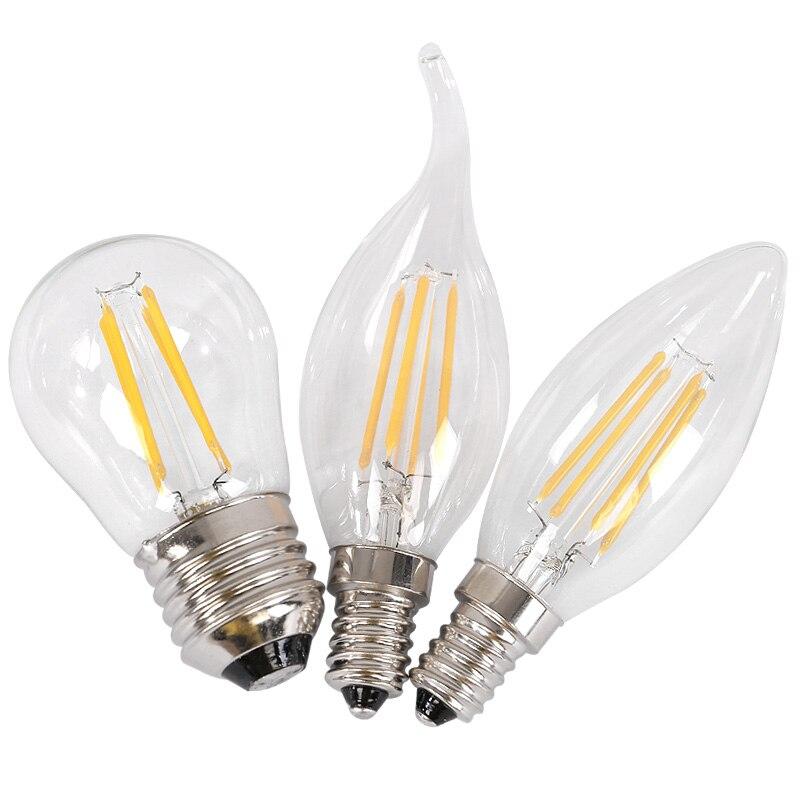 1PCS Retro LED Filament Light lamp E14 2W 4W 6W 110V / 220V  Clear Glass shell vintage edison led bulb Free shipping 5pcs e27 led bulb 2w 4w 6w vintage cold white warm white edison lamp g45 led filament decorative bulb ac 220v 240v