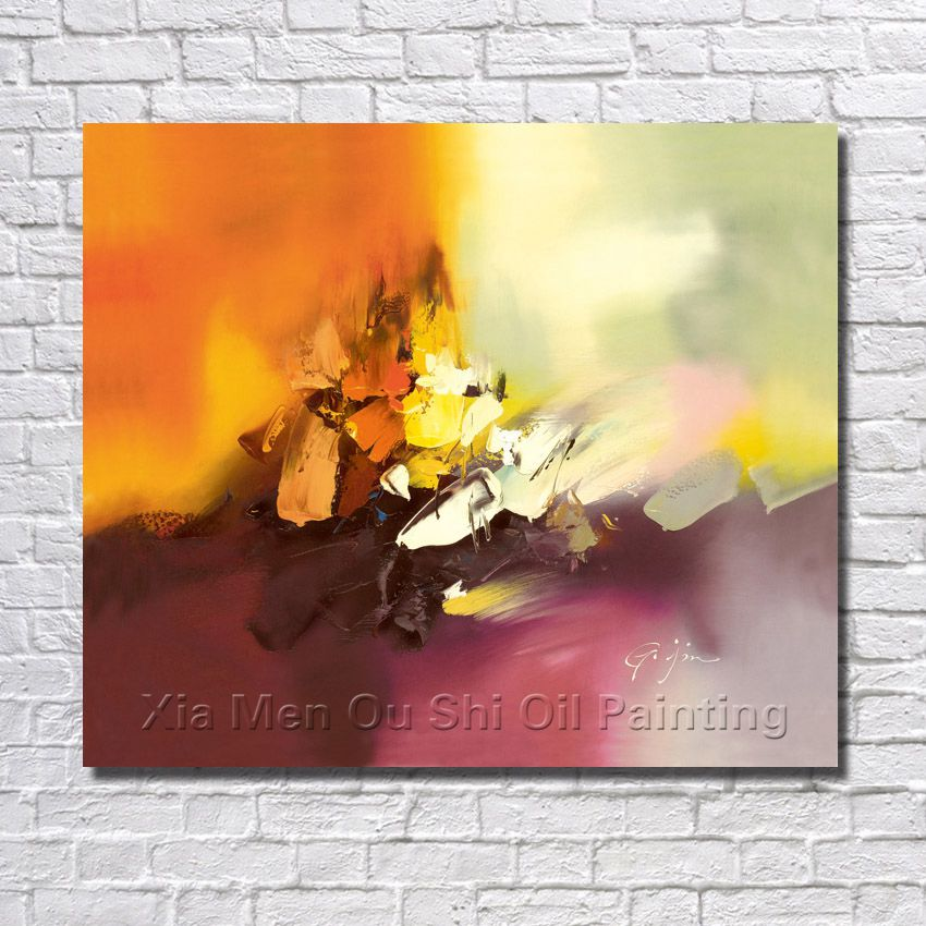 Handmade oil paintings abstract orange pink colour painting on the canvas landscape wall of the liiving room is free shipping in painting calligraphy from