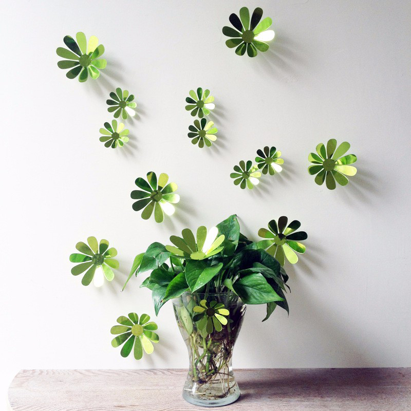 12xvinyl Removable Decorative Mirror Flowers 3d Wall