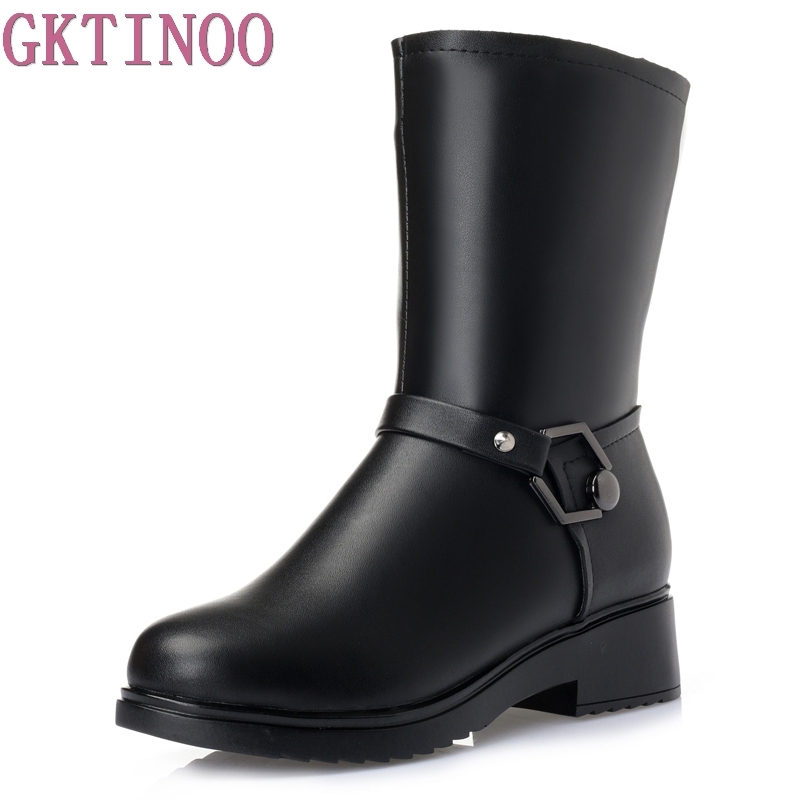Women Winter Shoes High Quality Mid-Calf Boots Women's Shoe Natural Wool Genuine Leather Women Winter Snow Boot Plus Size 35-43 2016 hot sale male snow boots genuine leather ankle suede snow boots winter shoes for men and women mens boot shoe 35 48