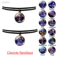 Black Clavicle Necklace Twelve Constellations Necklace Retro Custom Necklace 12 Zodiac Signs Pendant Birthday Gift все цены