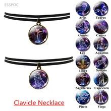 Black Clavicle Necklace Twelve Constellations Retro Custom 12 Zodiac Signs Pendant Birthday Gift