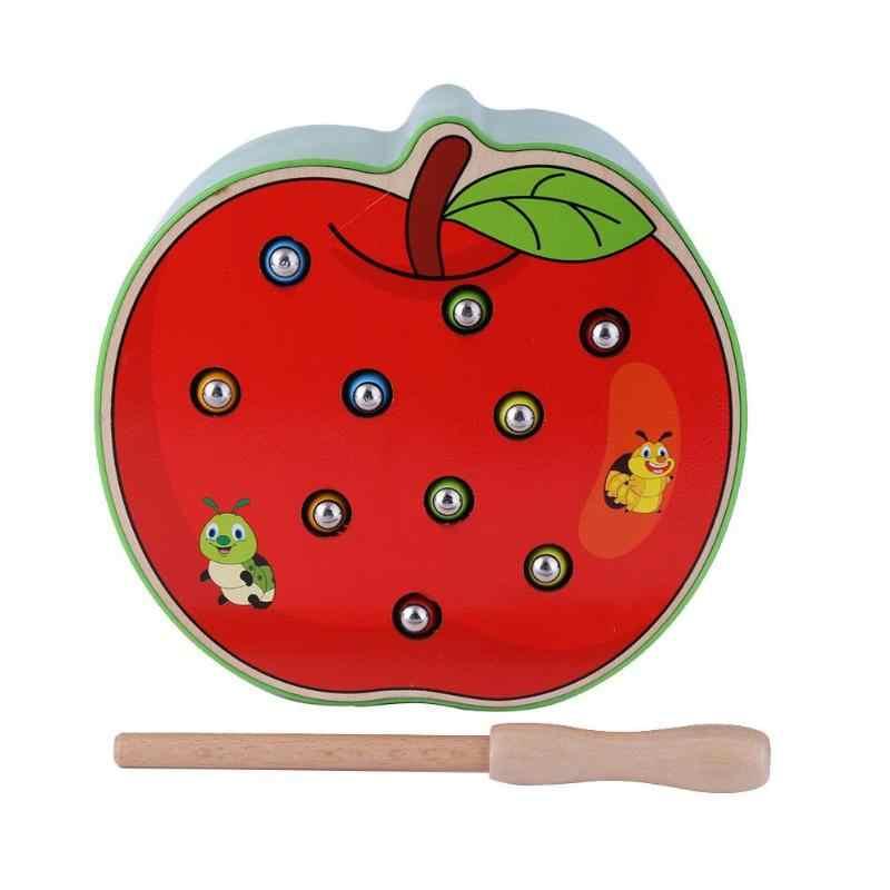 3D Apple ความรู้ความเข้าใจปริศนาการศึกษาของเล่นไม้ของเล่นแม่เหล็กสัตว์ Caterpillar เด็กปฐมวัยการศึกษาจับเกมหนอน