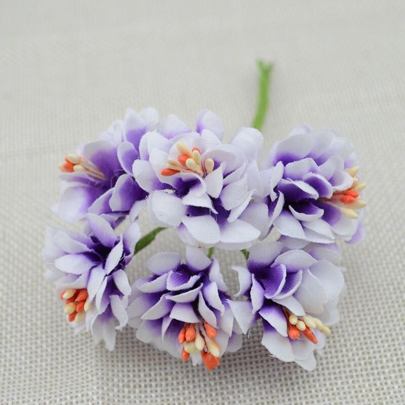 6pcs Fake Flower Silk Gradient Stamen Handmake Artificial Flower Bouquet Wedding Decoration DIY Wreath Gift Scrapbooking Craft